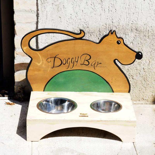 DOGGY BAR - Porta Ciotole in Legno per Cani - Blitzen Original