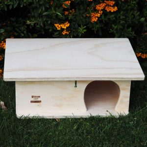 Wooden Hedgehog House on Grass front view - Blitzen