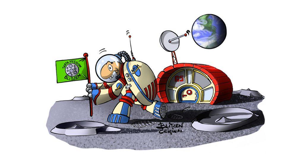 Disegno di una Tartaruga di Terra nello Spazio e la sua casa - Blitzen