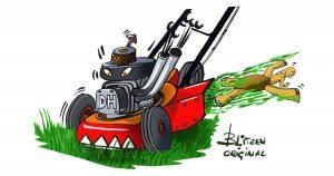 Pericoli per Tartarughe di Terra - Disegno raffigurante un tosaerba