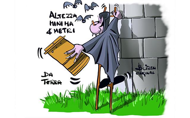 Disegno raffigurante un Pipistrello salire la scala per posizionare la Bat-Box