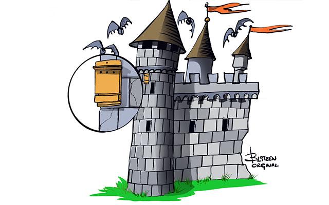 Disegno raffigurante una Bat-Box libera da ostacoli