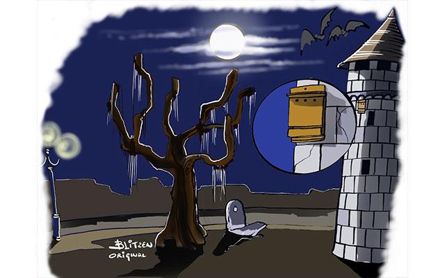 Disegno raffigurante un cielo notturno e nessuna luce artificiale sulla Bat-Box posizionata