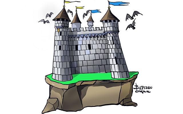 Disegno raffigurante un Castello con nessun ostacolo sotto la Bat-Box posizionata in cima