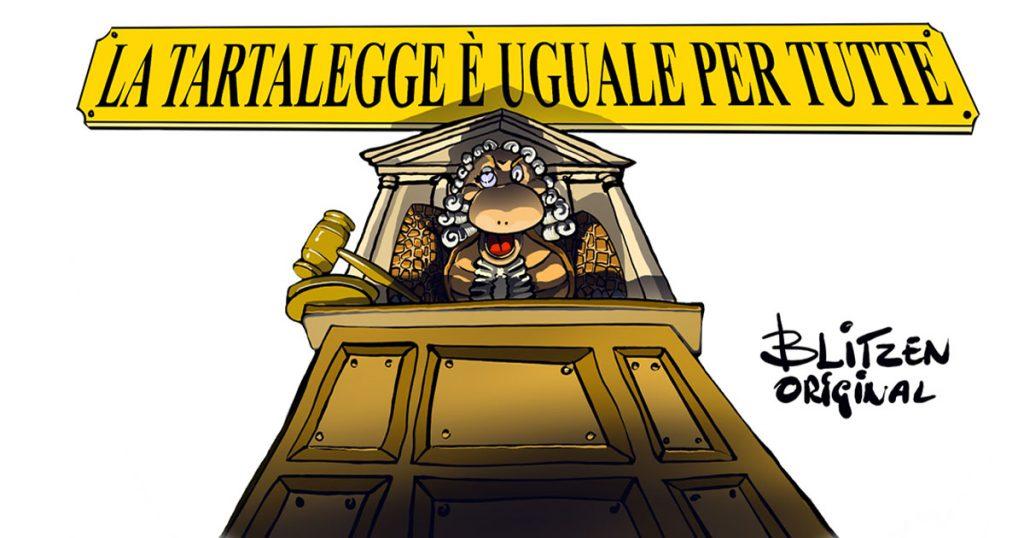 Disegno raffigurante un tribunale e una tartaruga come giudice per l'articolo Normative Tartarughe di Terra