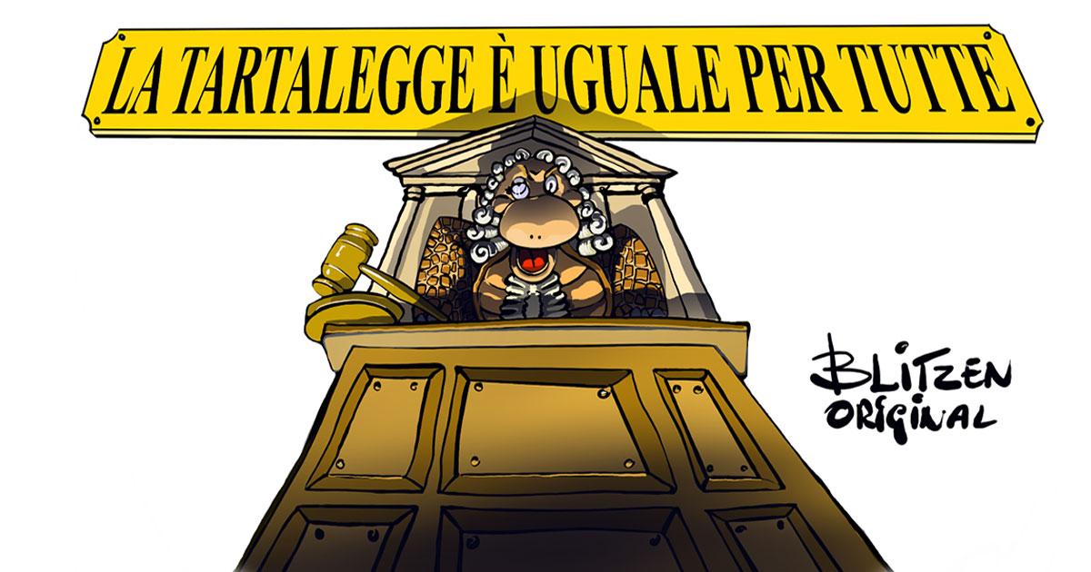 Disegno raffigurante un tribunale e una tartaruga come giudice
