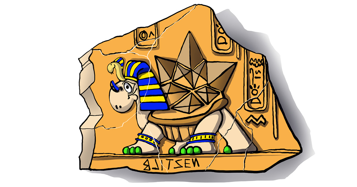 Disegno di una Tartaruga di Terra con piramidi sul carapace raffigurata come scultura egizia