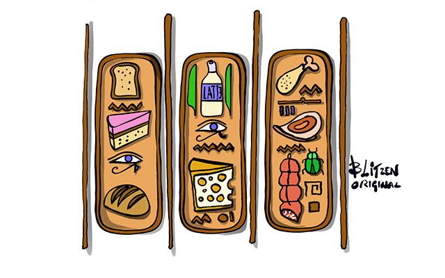 Disegno Blitzen raffigurante un geroglifco con i cibi da evitare per le Tartarughe di terra