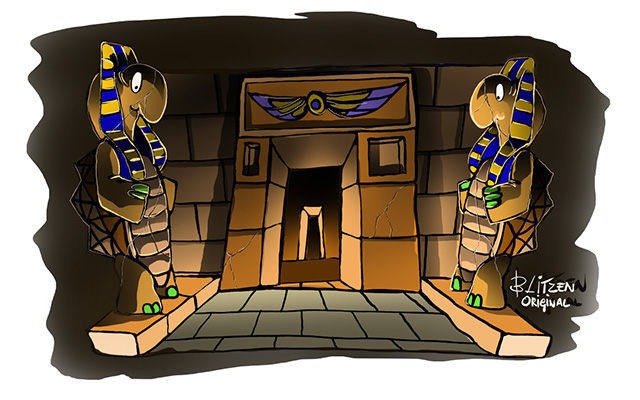 Disegno Blitzen raffigurante un ingresso egizio senza luce