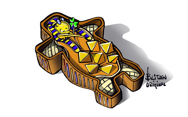 Disegno Blitzen raffigurante un sarcofago egizio di tartaruga con piramidalizzazione