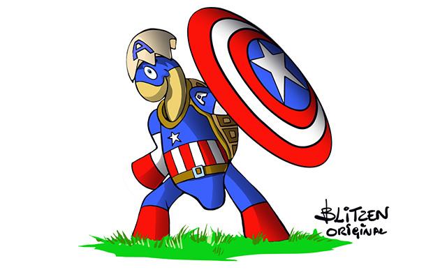 Tartarughe di Terra appena nate - Disegno Blitzen di una Tartaruga di Terra in stile Capitan America con scudo alzato per indicare che vanno protette