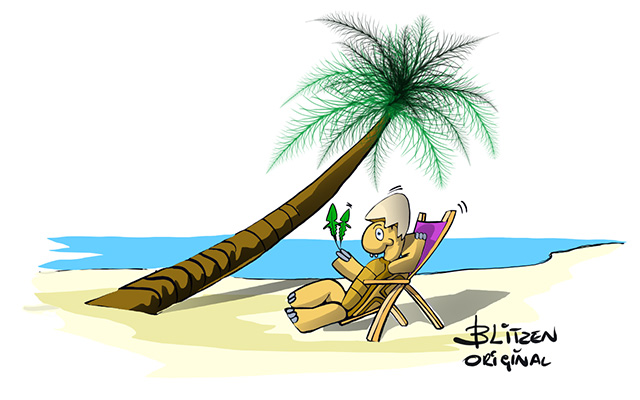 Tartarughe di Terra appena nate - Disegno Blitzen di una Tartaruga di Terra che prende il sole in spiaggia