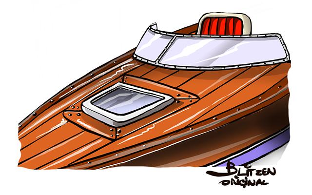 Disegno raffigurante un pannello di Compensato Marino di Mogani per costruire un imbarcazione navale - Blitzen