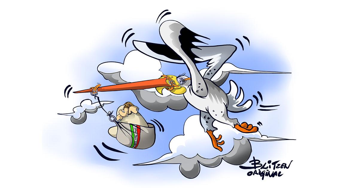 Disegno Blitzen di una cicogna che porta una Tartaruga di Terra appena nata