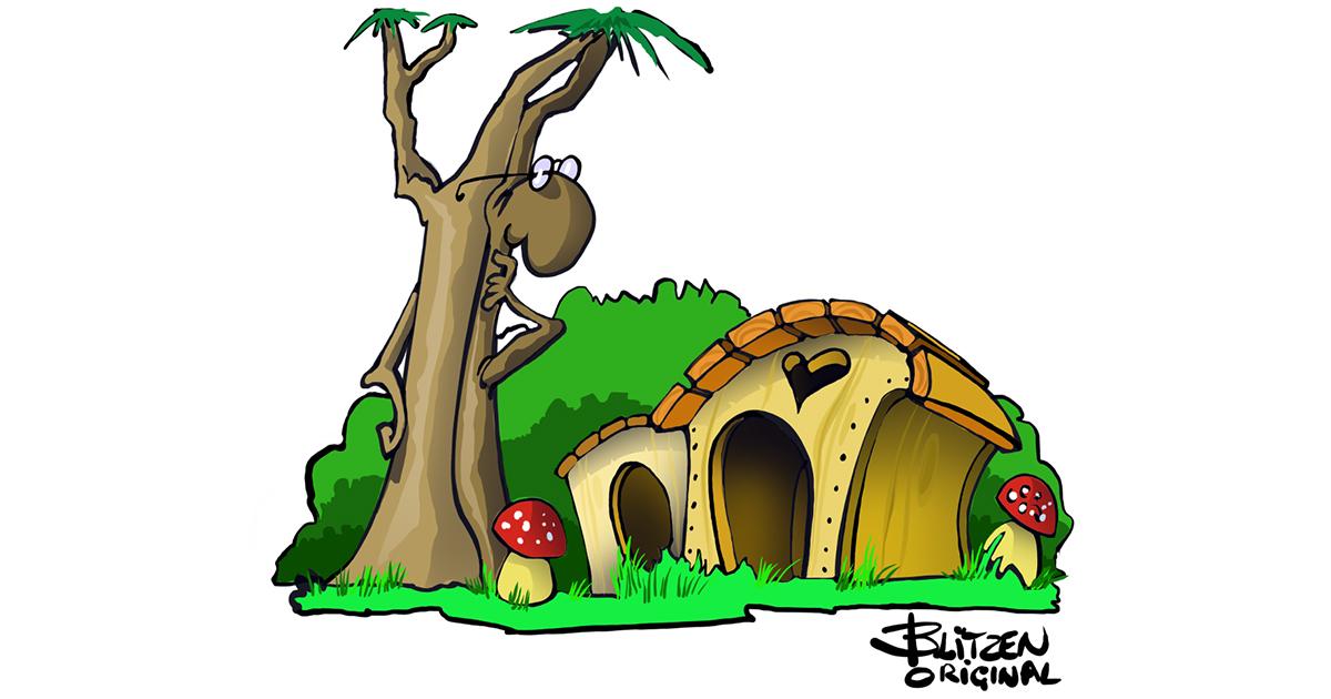 Disegno raffigurante una casetta in legno Gina per Gatti - Blitzen