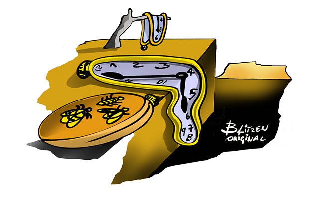 Disegno Blitzen con orologi sciolti come nel quadro Dalì