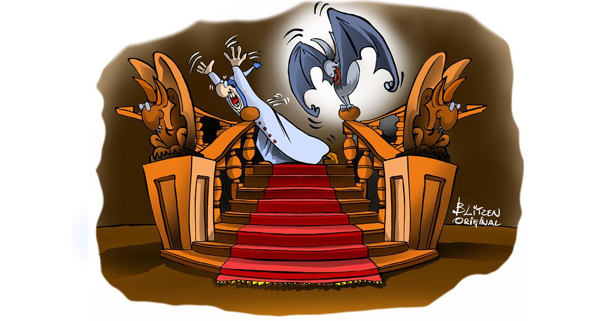 Copertina Pipistrello Vampiro con persona spaventata che scappa - Disegno Blitzen