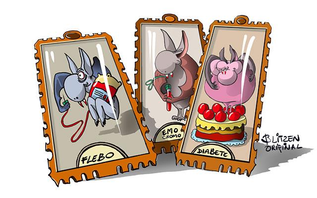 Disegno Blitzen raffigurante i 3 Pipistrelli Vampiro su figurina