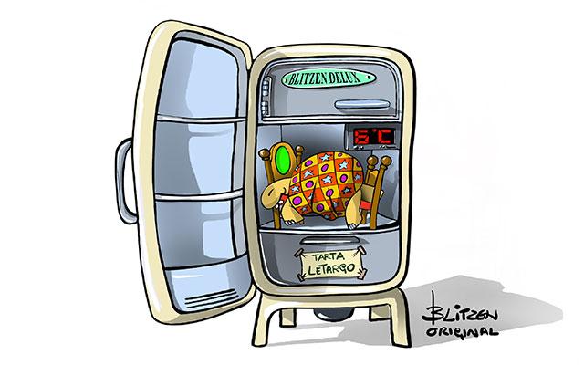 Tartaruga di terra in letargo in un frigorifero - Disegno Blitzen