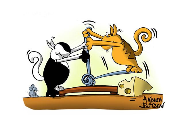 Due gatti che giocano con una trappola per topi - disegno Blitzen