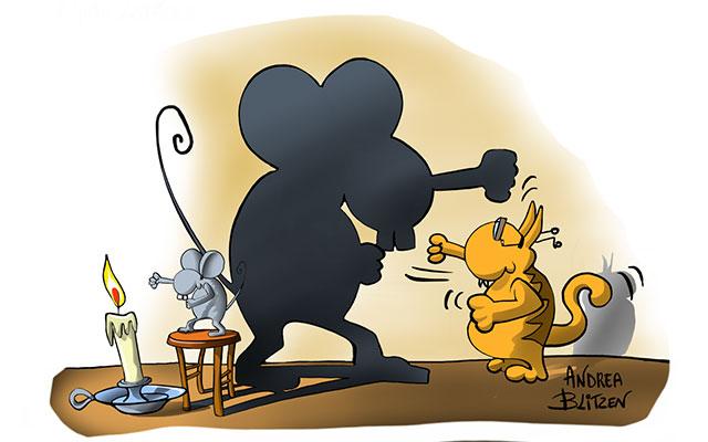 Gatto che lotta con un ombra di topo - disegno Blitzen