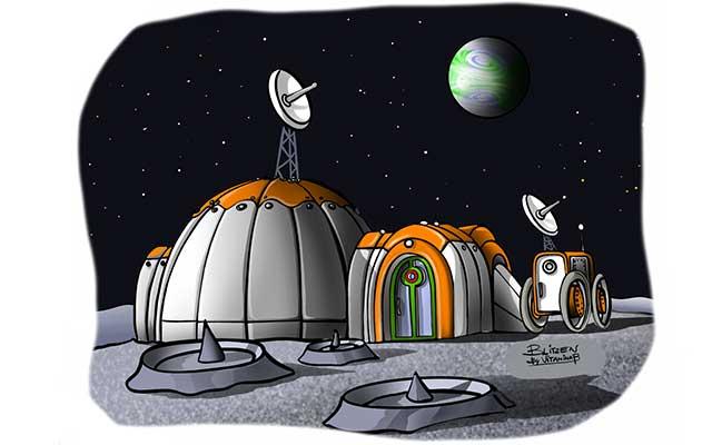 Illustrazione raffigurante una base spaziale - Disegno Blitzen