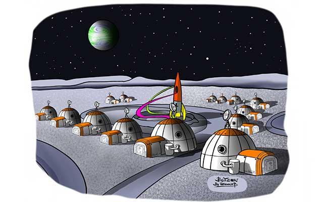Illustrazione raffigurante un accampamento di basi spaziali - Disegno Blitzen