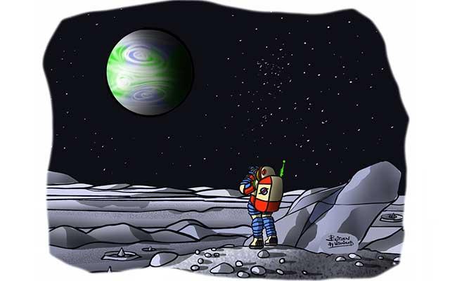 Illustrazione raffigurante un astronauta sulla Luna che osserva la Terra
