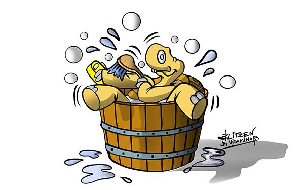 Illustrazione che raffigura una tartaruga che si fa il bagno - Blitzen by Vitamina B