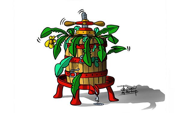Illustrazione che raffigura una botte piena di cibo e poca acqua - Blitzen by Vitamina B