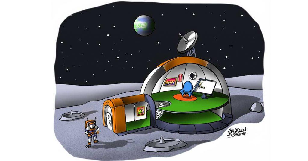 illustrazione raffigurante un astronauta fuori dalla base spaziale - Disegno Blitzen