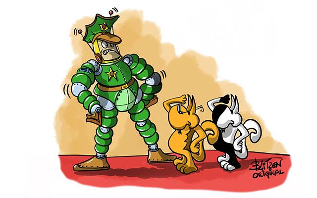 Uomo sergente che comanda i gatti - Disegno Blitzen