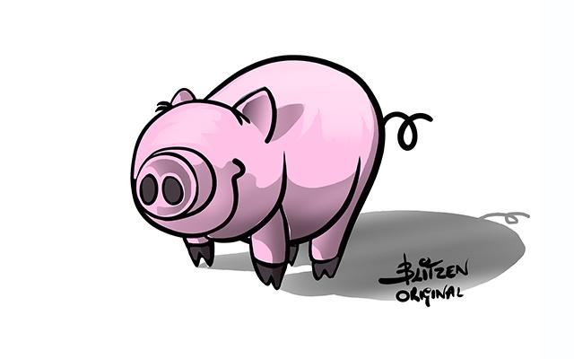 Illustrazione raffigurante un maialino - Blitzen
