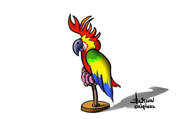 Illustrazione raffigurante un pappagallo - Blitzen