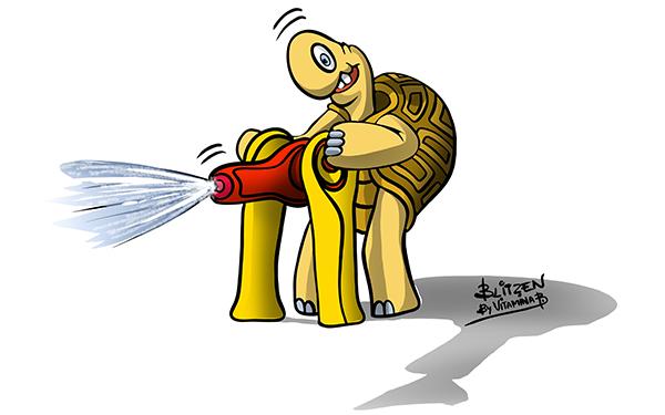 Illustrazione che raffigura una tartaruga che spruzza acqua con un idrante - Blitzen by Vitamina B