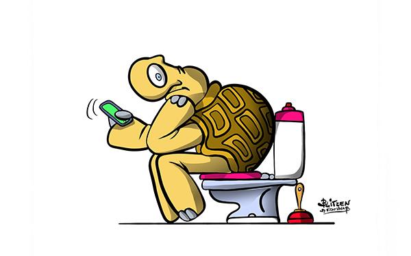 Illustrazione che raffigura una tartaruga che defeca mentre guarda il cellulare - Blitzen by Bitamina B
