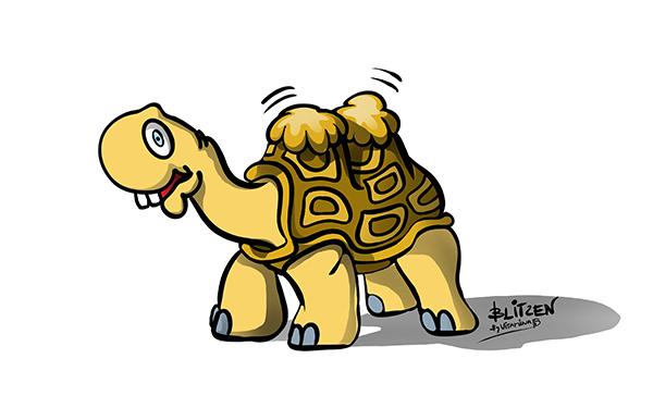 Illustrazione raffigurante una tartarugha versione cammello - Blitzen By Vitamina B