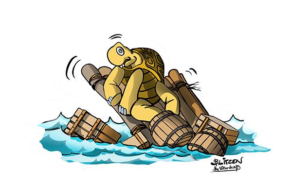 Illustrazione che raffigura una tartaruga su una zattera che affonda - Blitzen by Vitamina B