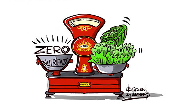 Illustrazione che raffigura una bilancia con da un parte la lattuga e dall'altra un recipiente indicante zero nutrienti - Blitzen by Vitmina Bi