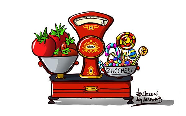 Illustrazione che raffigura una bilancia con pomodori e dolci - Blitzen By Vitamina B